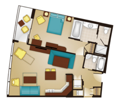 Bay Lake Tower One-Bedroom Layout