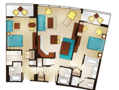 Bay Lake Tower Two-Bedroom Layout
