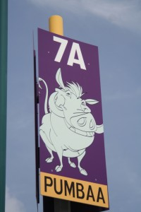 Pumba Parking Lot Sign at Disneyland