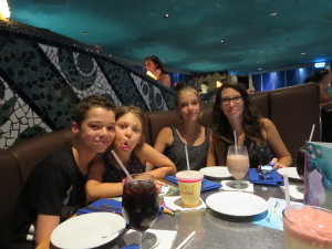 Jean Phillippe Paré 's wife and children at the Coral Reef Restaurant.