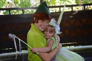 Peter Pan and Tinkerbell hugging