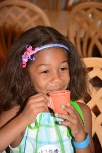 Fancy Free Niece enjoying her tea