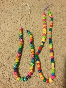 Free necklaces we made at Bay Lake Tower's Community Hall