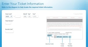 Enter your ticket information.