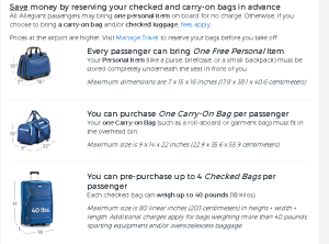 Allegiant's baggage policy as of 1/26/16
