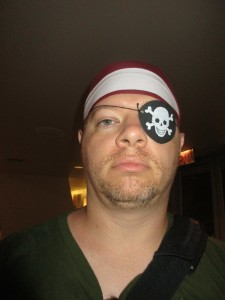 Fancy Free Husband looking piratical in his bandanna and eye patch