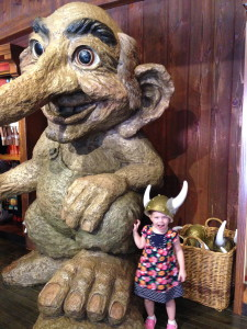 Fancy Free Daughter with the giant troll in Epcot's Norway