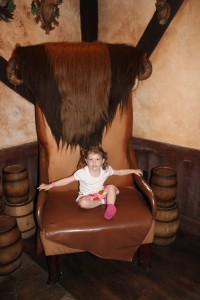 Fancy Free Daughter in Gaston's chair...or is it a throne?
