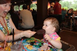 Fancy Free Daughter enjoys a Mickey Premium Ice Cream Bar - yum!