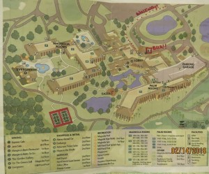 Shades of Green Resort Map, note the bus depot and walking path.