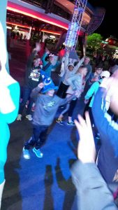 Teaching the crowd his moves!