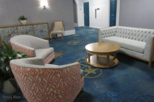 One of the small lounge areas connecting long hallways at Beach Club
