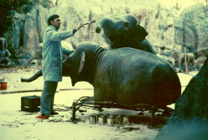 R.J. Ogren doing refurb on an elephant from Jungle Cruise