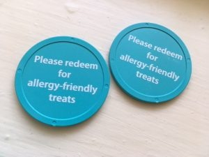 Teal Tokens collected at the many Trick or Treat Stations to be traded in for Allergy-Friendly treats!