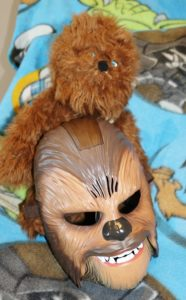 Stuffed Chewbacca doll and of course the Wookie talking Chewbacca mask