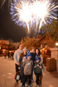 Family photo captured during fireworks. Yes please! (Photo courtesy Disney World PhotoPass)