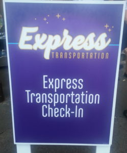 Where do I check-in for Disney World Express Transportation, Where is Park Hopper transportation check-in?