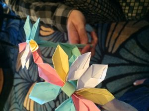 Family fun on Disney Cruise Line, shipboard activities, making origami flowers,