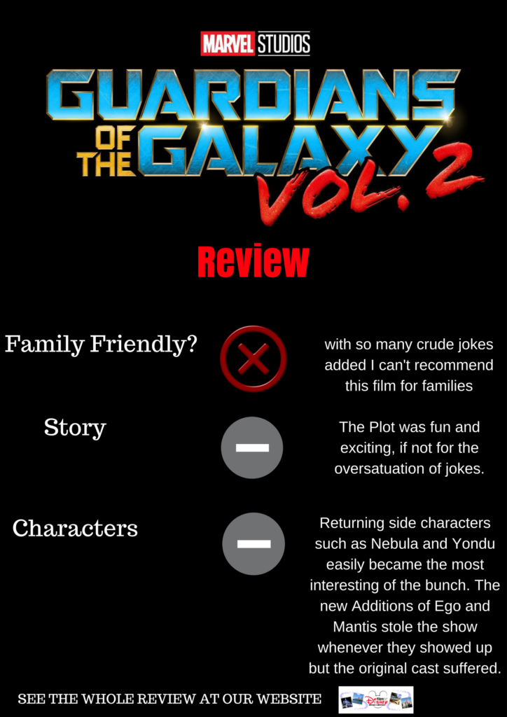 Guardians of the Galaxy vol 2 was not family friendly, acceptable plot, acceptable characters