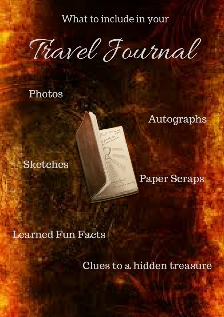 Recommended items for a travel journal are photos, autographs, sketches, paper scraps, fun facts and clues to hidden treasure