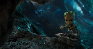 Baby Groot is about to push the button that will kill everyone