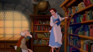 Belle in the Bookshop near the beginning of the animated Beauty and the Beast