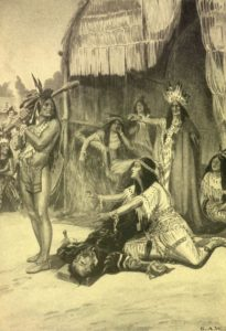 1917 image of Pocahontas saving John Smith from excution