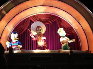 Jose, Panchito and Donald animatronics at Gran Fiesta Tour in Epcot