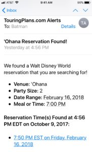 email alert from Touring Plans Reservation Finder