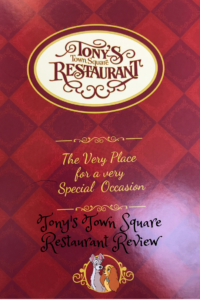 Menu Cover at Walt Disney World's Tony's Town Square Restaurant