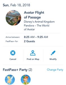 My Disney Experience modifying FastPass time
