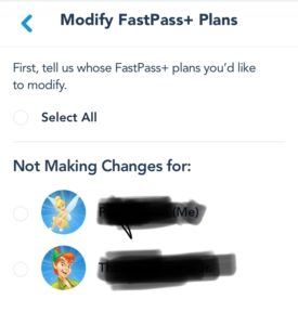 My Disney Experience modifying Fast Pass time