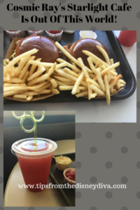 Hamburgers and Specialty drink at Cosmic Ray's Starlight Cafe in Walt Disney World's Magic Kingdom