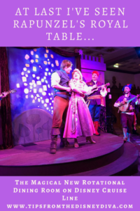 Flynn Ryder and Rapunzel sing, Rapunzel's Royal Table, Tangled, Disney Magic, Disney Cruise Line dining