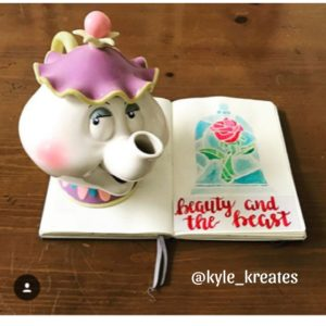 Beauty and the Beast, Mrs. Teapot, Rose, Bullet Jouranl Page, Bullet Journal layout