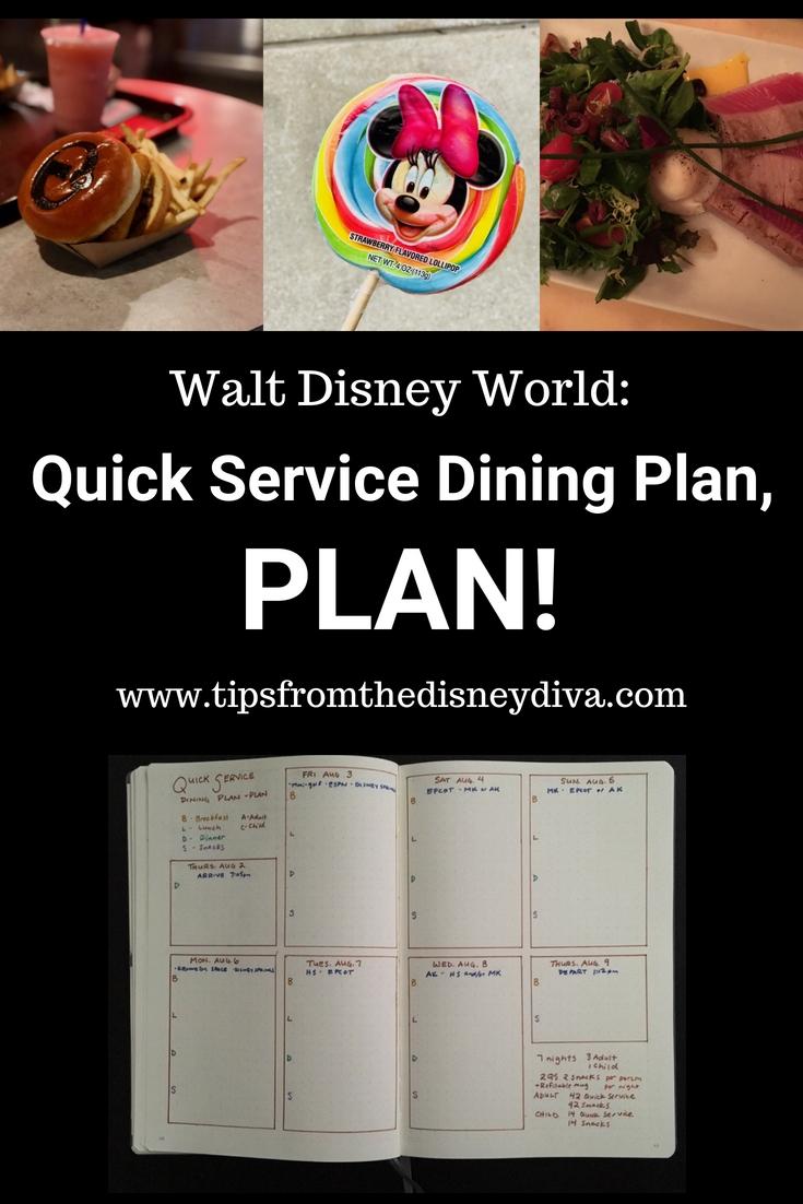 Walt Disney World Quick Service Dining Plan Plan Tips