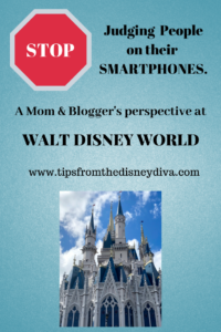 Using a Smartphone on vacation. Walt Disney World. Mom's perspective