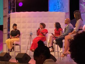 Mike Muse, Lauren Simmons, Courtney Quinn, Becky Davis on the Parent's Panel at 2019 Disney Dreamers Academy