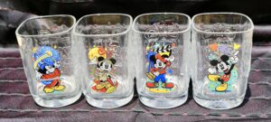 All four of the Walt Disney World Millennial glasses from McDonald's
