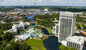 Hilton Orlando Buena Vista Palace -- aerial --- Disney Springs Resort Area Hotels