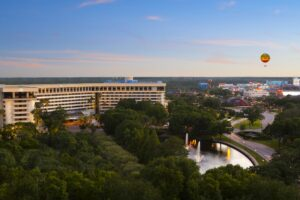 Hilton Orlando Lake Buena Vista -- exterior aerial -- Disney Springs Resort Area Hotels