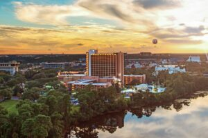 Wyndham Lake Buena Vista Resort -- Disney Springs Area --- Aerial view of Disney Springs at Sunset