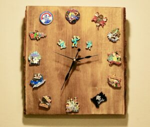 Handcrafted clock made from Walt Disney World trading pins