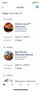 Disneyland App FastPass