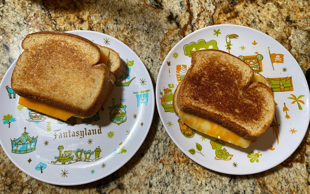 Making Woody's Lunch Box Grilled Three-Cheese Sandwich