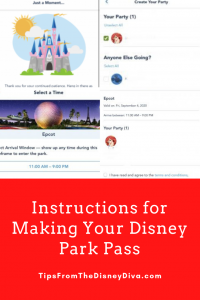Instruction for Making Your Disney Park Pass
