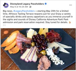 Alfresco Tasting Terrace Reopening Announcement