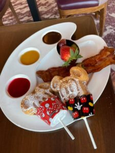 Mickey waffle dippers at Topolino's Terrace